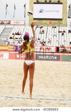 MOSCOW - JUNE 6: Woman from Brazil play volleyball in Country Quota at tournament Grand Slam of beach volleyball 2012, on June 6, 2012 in Moscow, Russia.