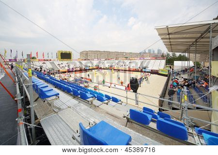 MOSCOW - JUNE 6: Area and stands on Poklonnaya Hill for tournament Grand Slam of beach volleyball 2012, on June 6, 2012 in Moscow, Russia.
