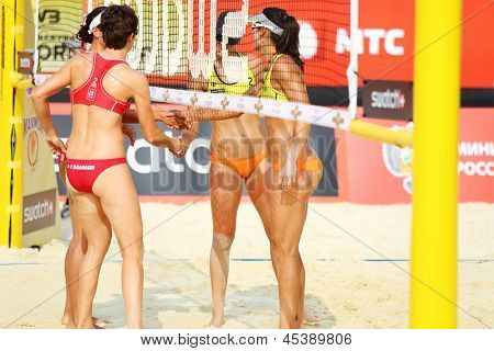MOSCOW - JUNE 6: Athlete from USA greet in Country Quota at tournament Grand Slam of beach volleyball 2012, on June 6, 2012 in Moscow, Russia.