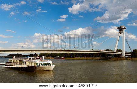 New Bridge With Ship, Bratislava, Slovakia