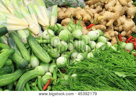 Fresh vegetables in market , Asia, Thailand