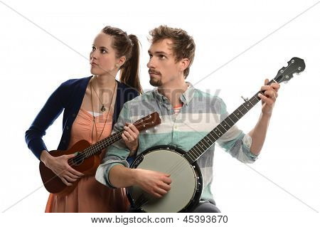 Woman playing ucalaly and man playing banjo isolated over white background