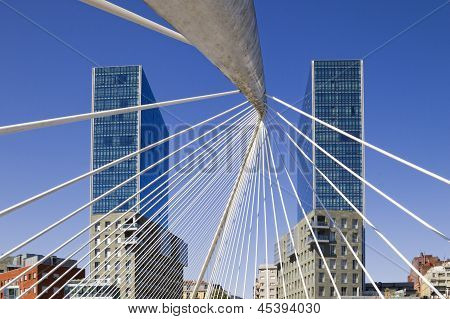 Bilbao. Isozaki Towers And Calatrava Footbridge