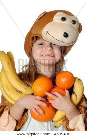 Monkey Girl With Fruit