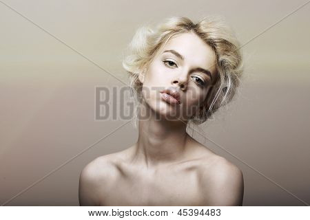 Character. Individuality. Genuine Sentimental Blond Hair Woman Dreaming