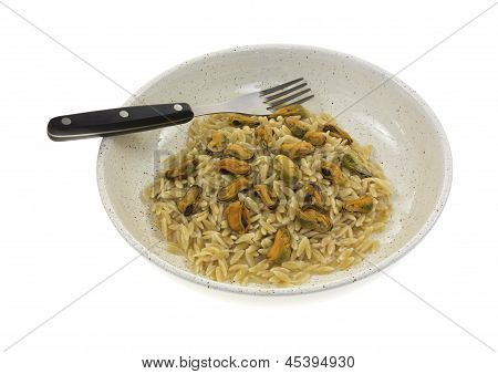 Marinated Mussels On Orzo In Bowl