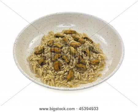 Cooked Orzo With Marinated Mussels