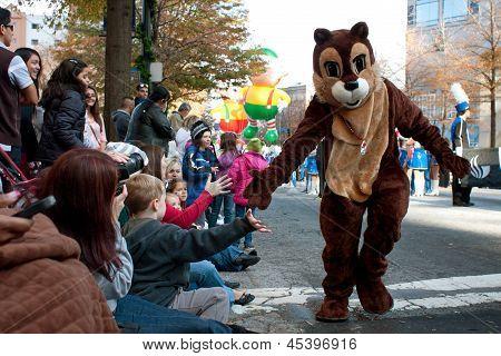 Chipmunk Character Entertains Crowd At Atlanta Christmas Parade