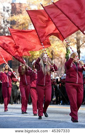 High School Flag Corps Performs In Atlanta Christmas Parade