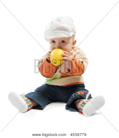 Baby Bites An Apple