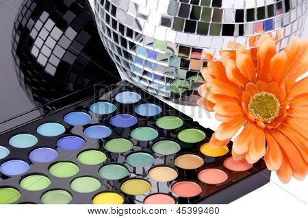 A makeup multicolored palette.