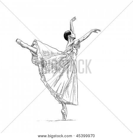 Beautiful dancer posing on white background