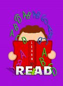 stock photo of bookworm  - Illustration shows child holding an open book and looking through letters of the alphabet that float off the pages of the book - JPG