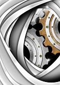 Brown, Gray And Metal Industrial Gears Background