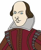 stock photo of william shakespeare  - Cartoon illustration of the writer and poet - JPG