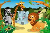stock photo of jungle  - A vector illustration of a group of wild African animals in the jungle - JPG