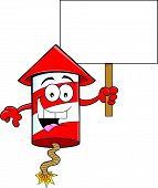 Cartoon Firecracker Holding a Sign