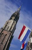 New Church And Flags At The Market Place, Delft