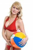 Blond Woman Wearing Red Bikini Holding Beach Ball