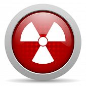 radiation red circle web glossy icon