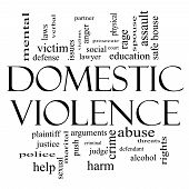 stock photo of social housing  - Domestic Violence Word Cloud Concept in Black and White with great terms such as victim assault judge harm social education and more - JPG