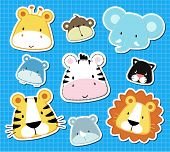 image of cute animal face  - set of cute baby safari animals heads - JPG