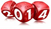pic of box-end  - Three red dice with the written 2014 and reflections - JPG