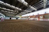 MOSCOW - JUN 9: Indoor riding hall at equestrian center Bitsa, June 9, 2012, Moscow, Russia. Arena s