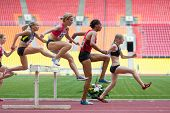 MOSCOW - JUN 11: Women can easily overcome obstacles on International athletic competition Moscow Ch