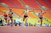 MOSCOW - JUN 11: Finish of female race at Grand Sports Arena of Luzhniki OC during International ath