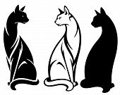 stock photo of outline  - elegant sitting cats vector design  - JPG