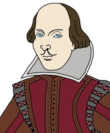 picture of william shakespeare  - Cartoon illustration of the writer and poet - JPG