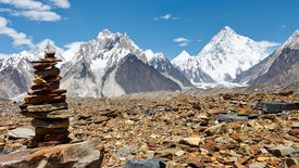 stock photo of skardu  - Cairn in the Karakorum Mountains Pakistan - JPG