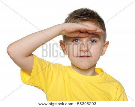 Little Boy Looks Afar