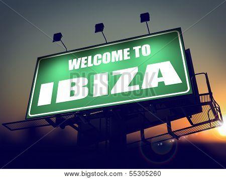 Billboard Welcome to Ibiza at Sunrise.