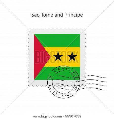 Sao Tome and Principe Flag Postage Stamp.