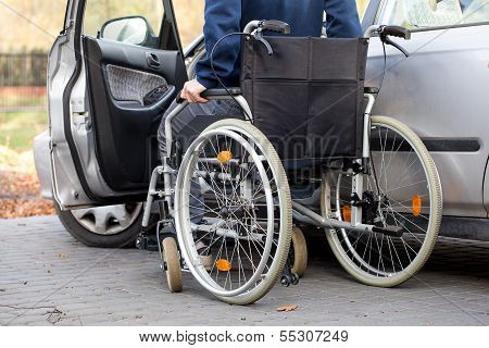 Car Driver On Wheelchair