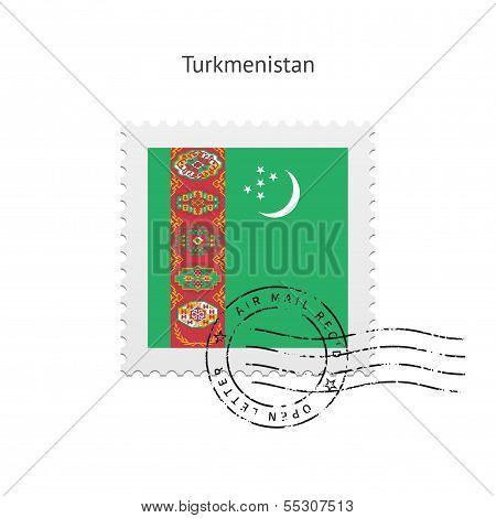 Turkmenistan Flag Postage Stamp.
