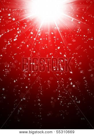 Snowflakes on abstract red background