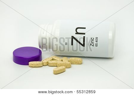 Tipped over bottle of Zinc vitamins