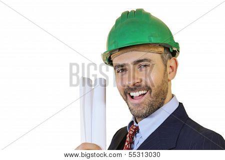 Man Wearing A Safety Helmet Holding Blueprints