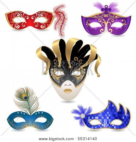 5 bright carnival masks