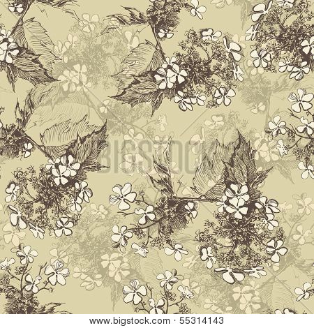 Guelder rose seamless in vintage style