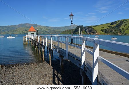 Pier on the shores of Akaroa Harbour, New Zaland