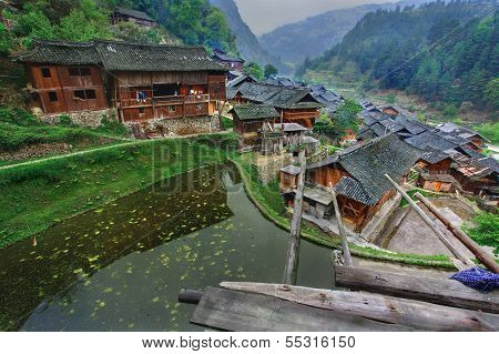 East Asia, South West China, Ethnic Village In Mountain Area.