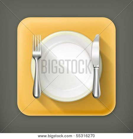 Dinner place setting, vector flat icon
