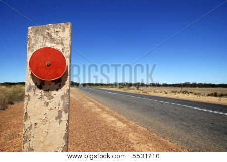 Red Reflector At The Eyre Highway