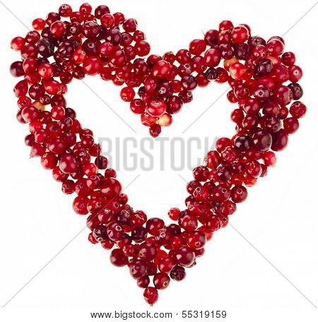 Heart frame card of fresh cranberries surface with copy space  isolated on white background