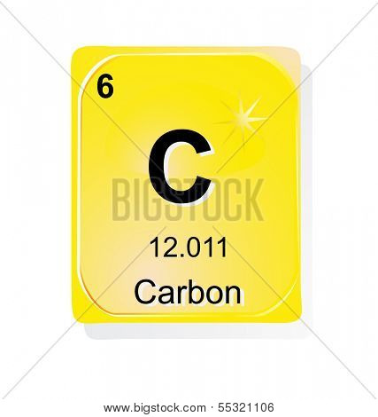 Carbon chemical element with atomic number, symbol and weight