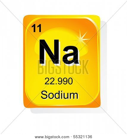Sodium chemical element with atomic number, symbol and weight